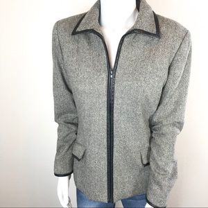 OSCAR DE LA RENTA Wool Blend Full ZIP Blazer